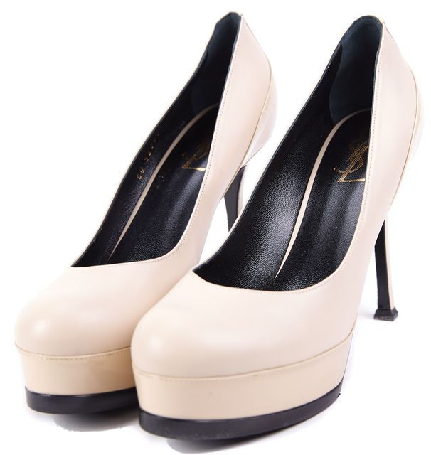 YVES SAINT LAURENT Beige Leather and Patent Leather Heels