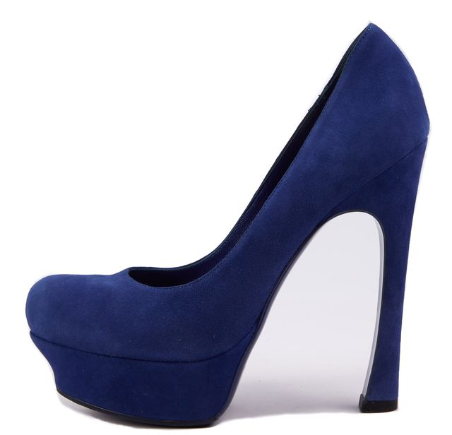 YVES SAINT LAURENT Royal Blue Suede Stilettos Heels