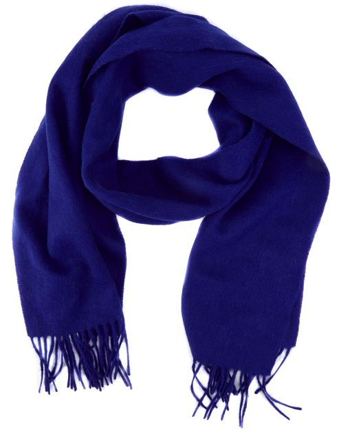 YVES SAINT LAURENT Blue Fringed Wool Scarf
