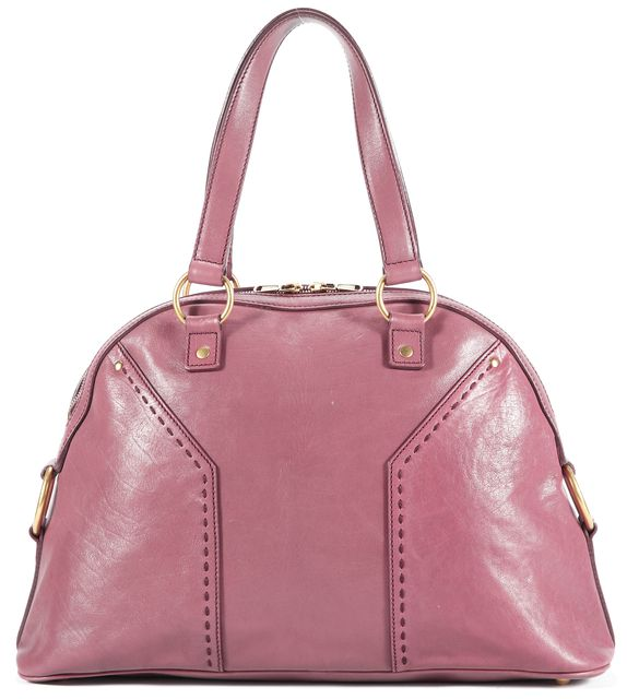 YVES SAINT LAURENT Purple Leather Muse Tote Top Handle Bags