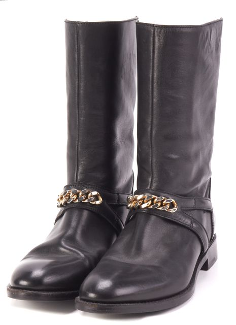 YVES SAINT LAURENT Black Leather Gold Chain Embellished Mid-Calf Boots