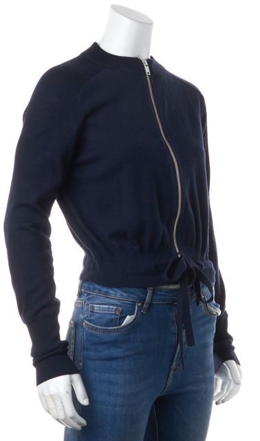 ADIDAS Y-3 Navy Blue Wool Zip Front Elastic Waist Cropped Cardigan