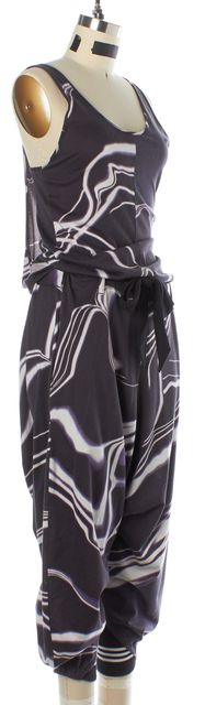 ADIDAS Y-3 Purple Gray White Cotton Abstract Harem Jumpsuit