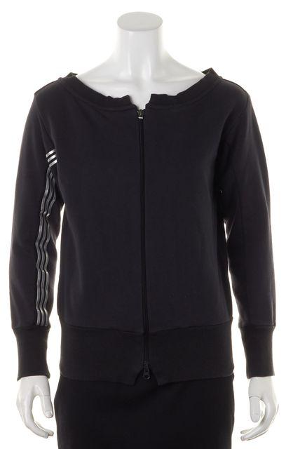 ADIDAS Y-3 Black Silver Striped Full Zip Sweatshirt Sweater