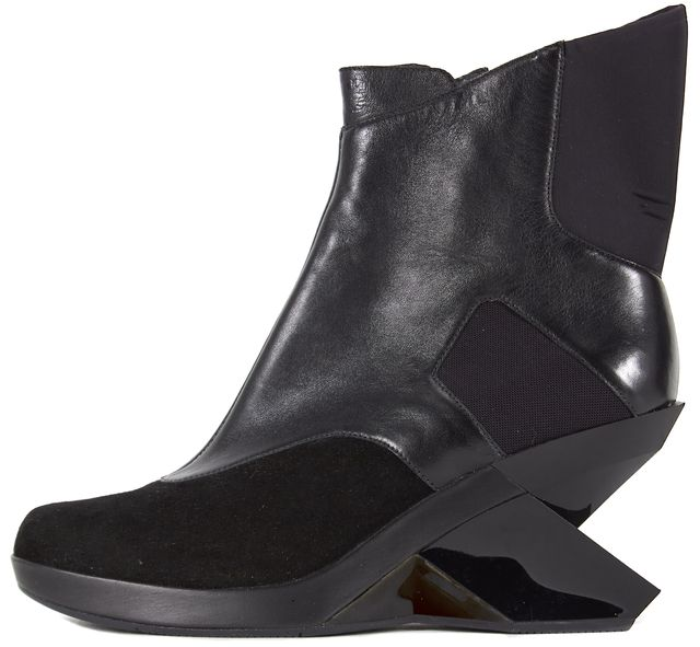 ADIDAS Y-3 Solid Black Leather Tenet Wedge Ankle Boots