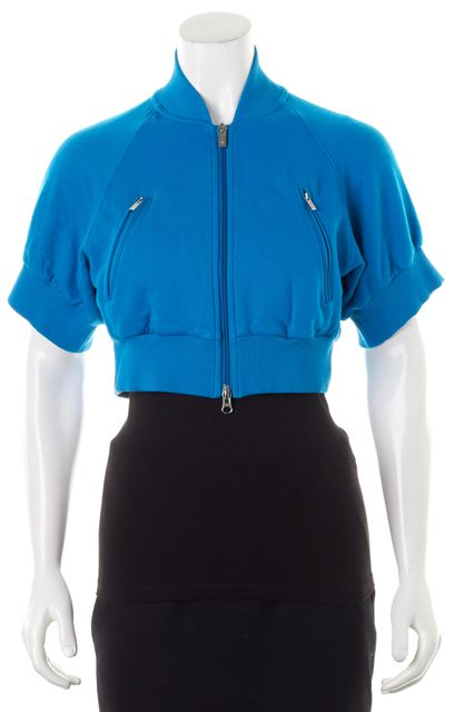 ADIDAS Y-3 Azure Blue Front Zip Short Sleeve Cropped Jacket