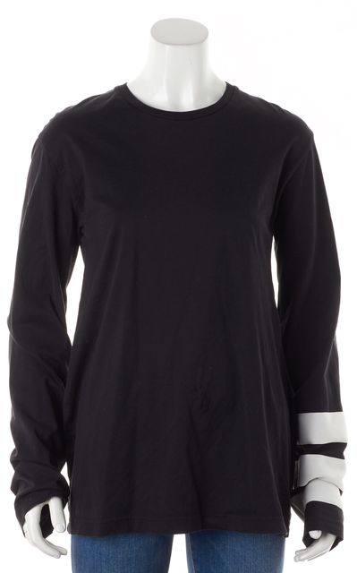 ADIDAS Y-3 Black Cotton Jersey Striped Sleeve Knit T-Shirt Tee Top