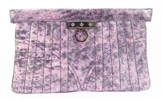 ZAC POSEN Purple Ostrich Embossed Leather Clutch Bag