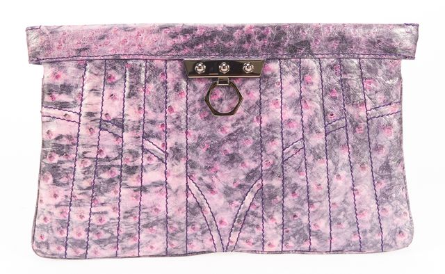 ZAC POSEN Purple Ostrich Embossed Leather Clutch Bag