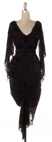 ZAC POSEN Black Embroidered Velvet Pattern Sheath Dress Size Fits Like a 0