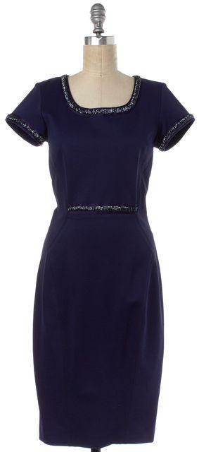 ZAC POSEN Blue Beaded Embellished Short Sleeve Sheath Dress