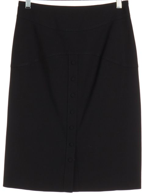 ZAC POSEN Black Wool Pencil Button Down Skirt