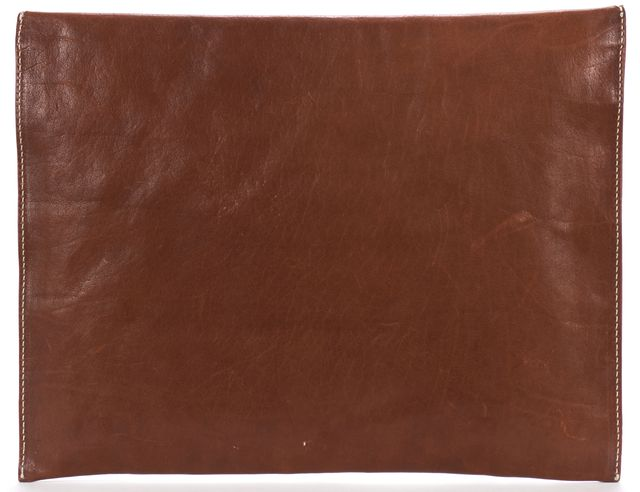 ZAC POSEN Brown Leather Envelope Clutch