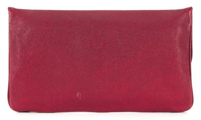 ZAC POSEN Metallic Red Pebbled Leather Gold Hardware Fold-Over Clutch