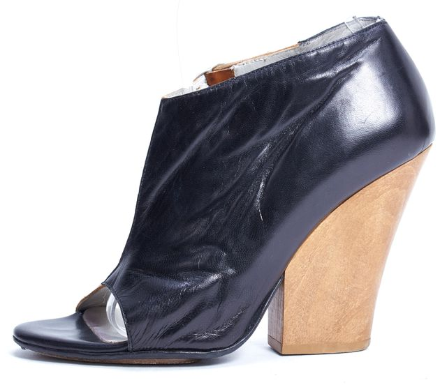 ZERO + MARIA CORNEJO Black Brown Leather Wooden Block Heel