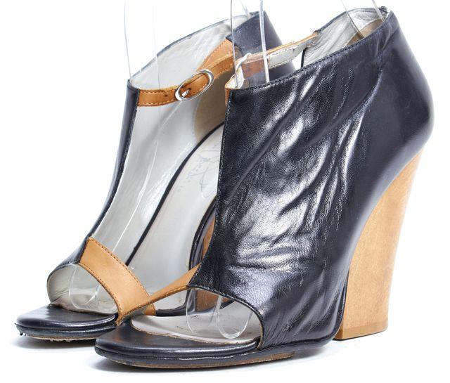 ZERO + MARIA CORNEJO Black Brown Leather Wooden Block Heel