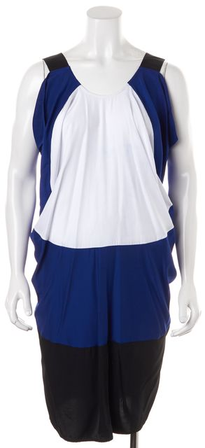 ZERO + MARIA CORNEJO Blue White Black Sleeveless Blouson Dress