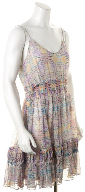 ZIMMERMANN Multi-Color Silk Abstract Striped Blouson Tank Dress