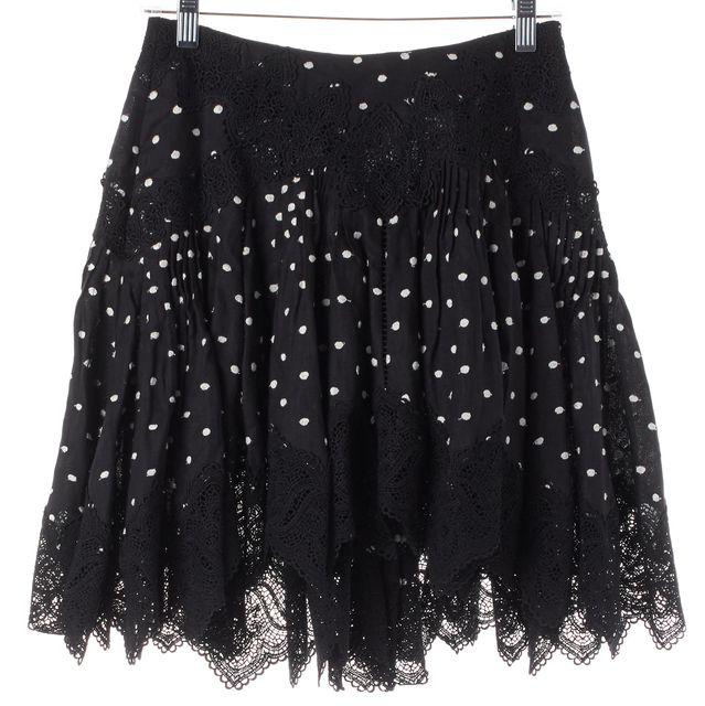ZIMMERMANN Black White Linen Empire Dot Mini Skirt