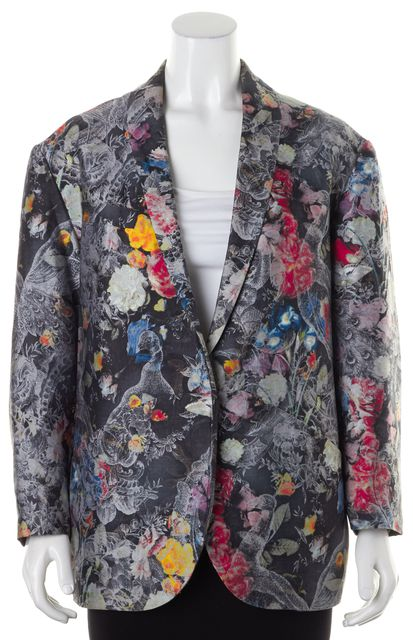 ZIMMERMANN Gray Floral Peacock Print Silk Blazer Jacket