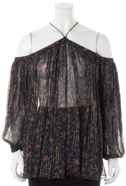 ZIMMERMANN Navy Blue Floral Silk Cold Shoulder Blouse Top