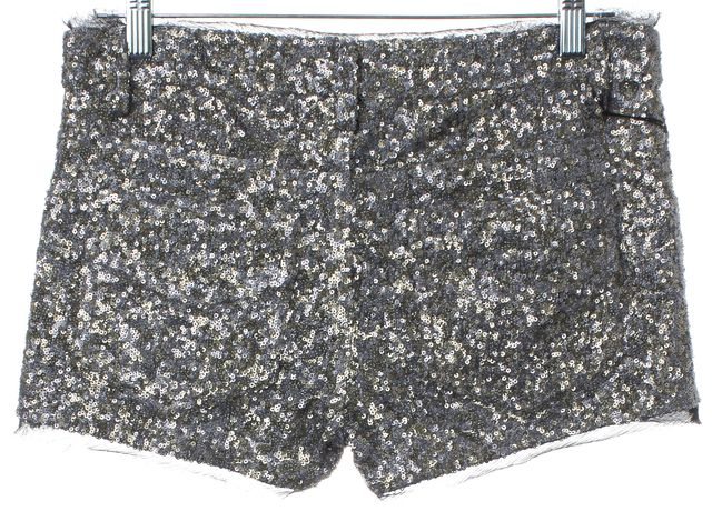 ZADIG & VOLTAIRE Silver Sequin Embellished Mini Shorts