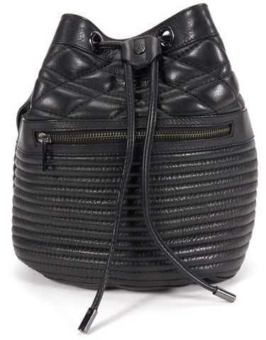 ZADIG & VOLTAIRE Authentic Black Quilted Leather Bucket Tote Bag
