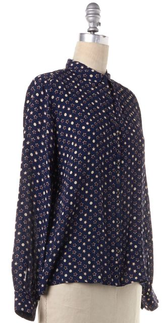 ZADIG & VOLTAIRE Navy Blue Star Print Button Down Shirt Top