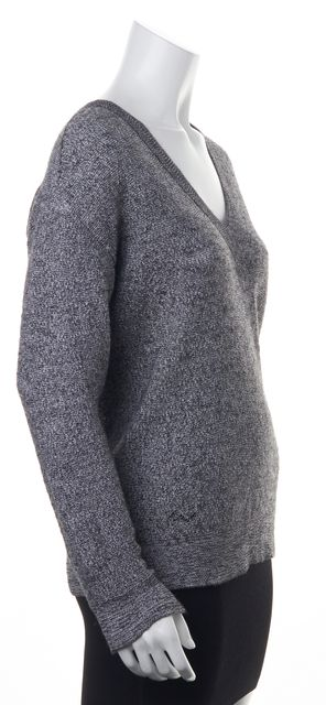 ZADIG & VOLTAIRE Gray Alpaca Coton Marled Knit V-Neck Apple Baby Sweater