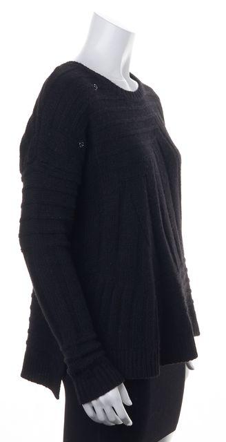 ZADIG & VOLTAIRE Black Alpaca Wool Chunky Knit Long Crewneck Sweater