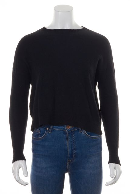 ZADIG & VOLTAIRE Black Cashmere Cropped Boat Neck Sweater