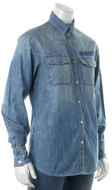 ZADIG & VOLTAIRE Faded Blue Button Down Denim Shirt Top