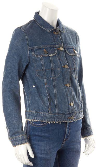 ZADIG & VOLTAIRE Blue Button Down Zipper 4 Pocket Jean Jacket