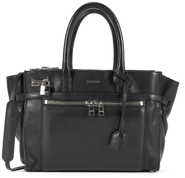 ZADIG & VOLTAIRE Black Leather Silver Tone Hardware Satchel Tote Bag