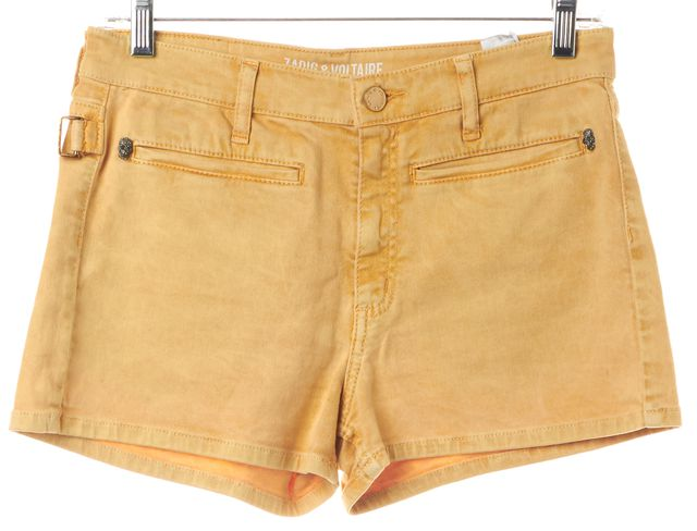 ZADIG & VOLTAIRE Yellow Washed Denim Shorts