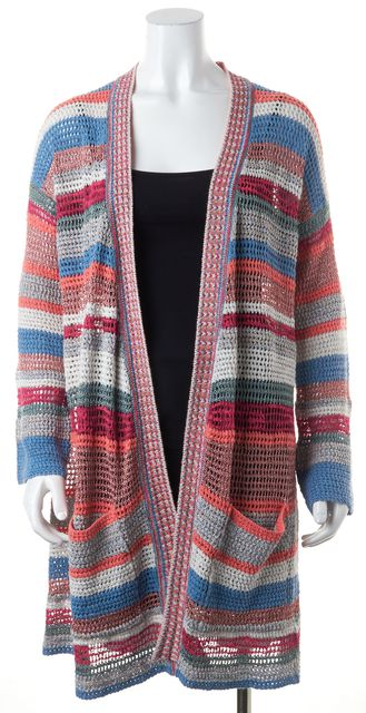 ZADIG & VOLTAIRE Multi-Color Striped Perforated Cardigan