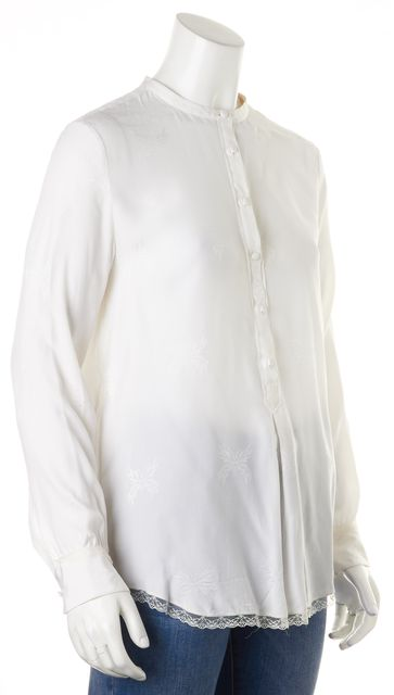 ZADIG & VOLTAIRE Ivory Silk Lace Trim Butterfly Print Tano Jac Blouse