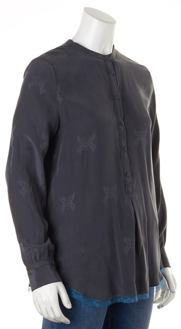 ZADIG & VOLTAIRE Gray Lace Butterfly Silk Tano Jack Blouse