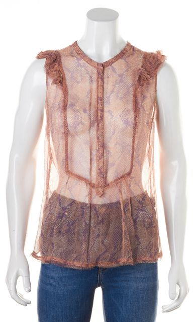 ZADIG & VOLTAIRE Pink Sheer Snake Print Fray Ruffle Crepe Silk Blouse
