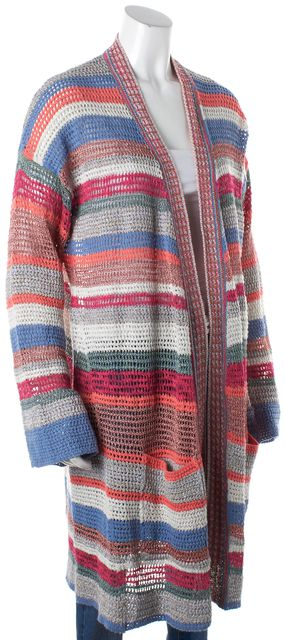 ZADIG & VOLTAIRE Multi-color Abstract Open Knit Duster Cardigan Sweater