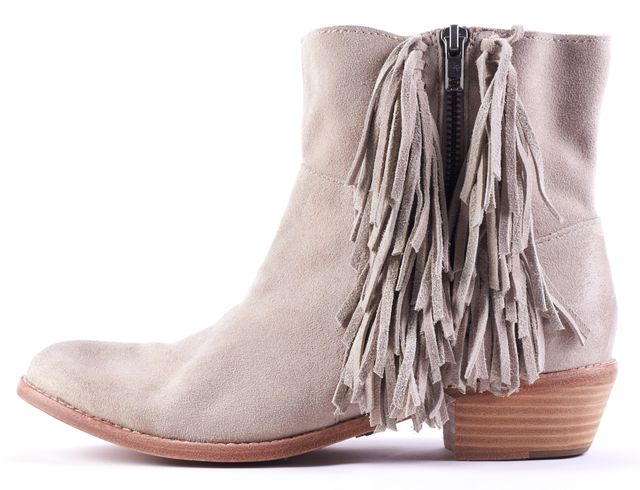ZADIG & VOLTAIRE Beige Suede Fringe Ankle Boot Boots