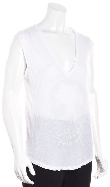 ZADIG & VOLTAIRE White Skull Embellished Cap Sleeve T-Shirt Top