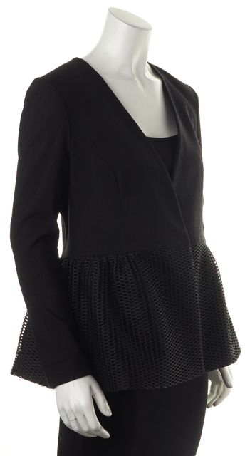 ZAC ZAC POSEN Black Knit Peplum Waist Basic Blazer Jacket